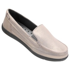 Foto Tênis Crocs Feminino Walu Shimmer Leather Loafer Casual